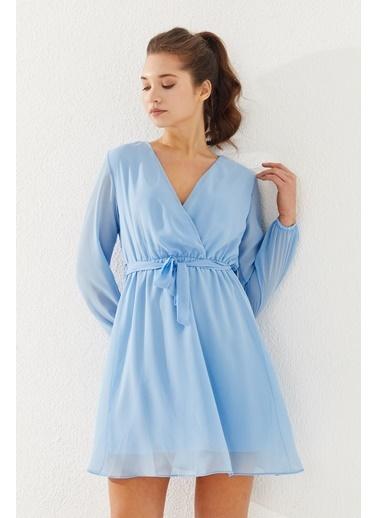 Reyon Kruvaze Yaka Bel Kuşaklı Elbise Mavi Mavi